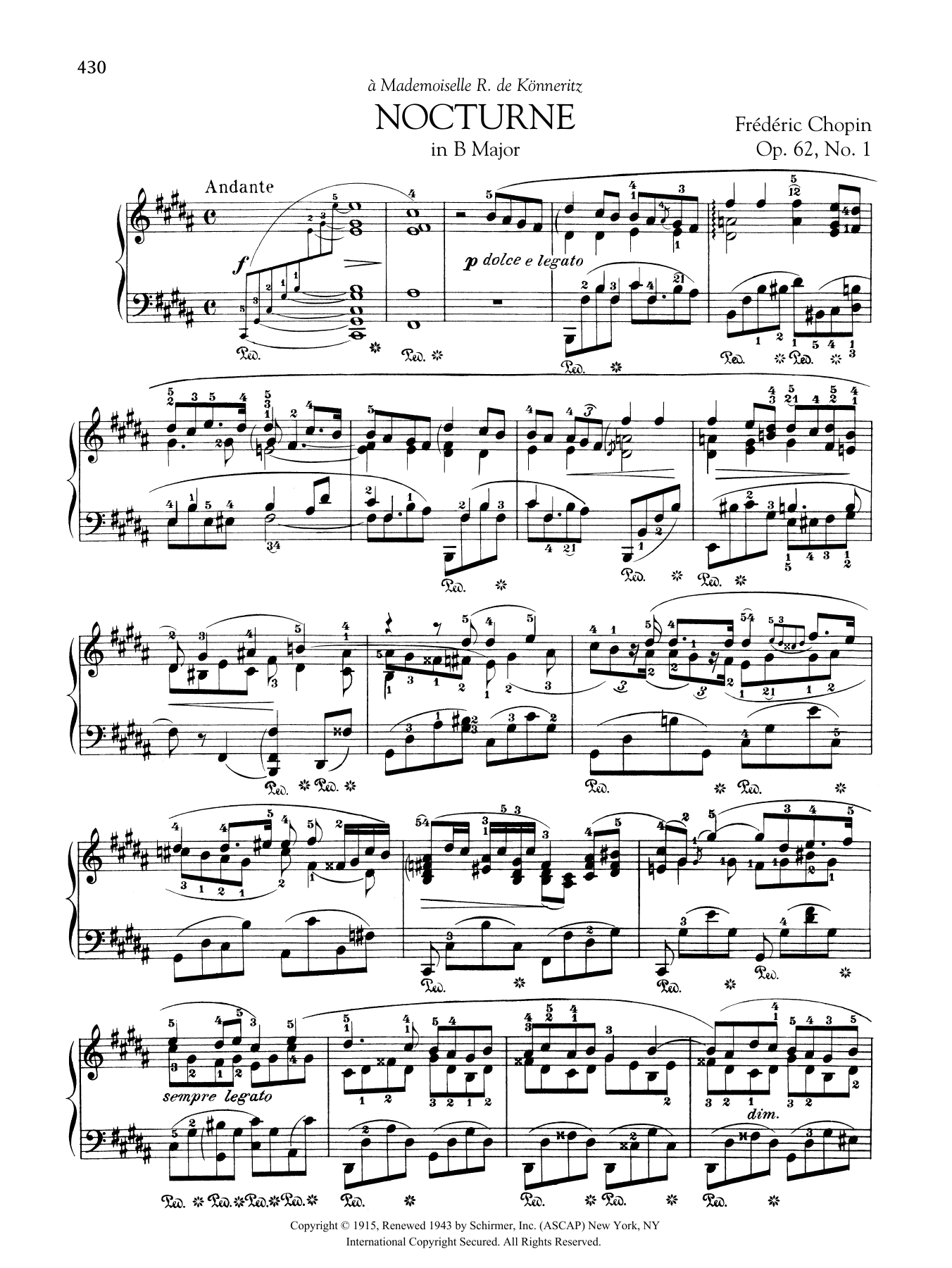 Nocturne in B Major, Op. 62, No. 1 Sheet Music