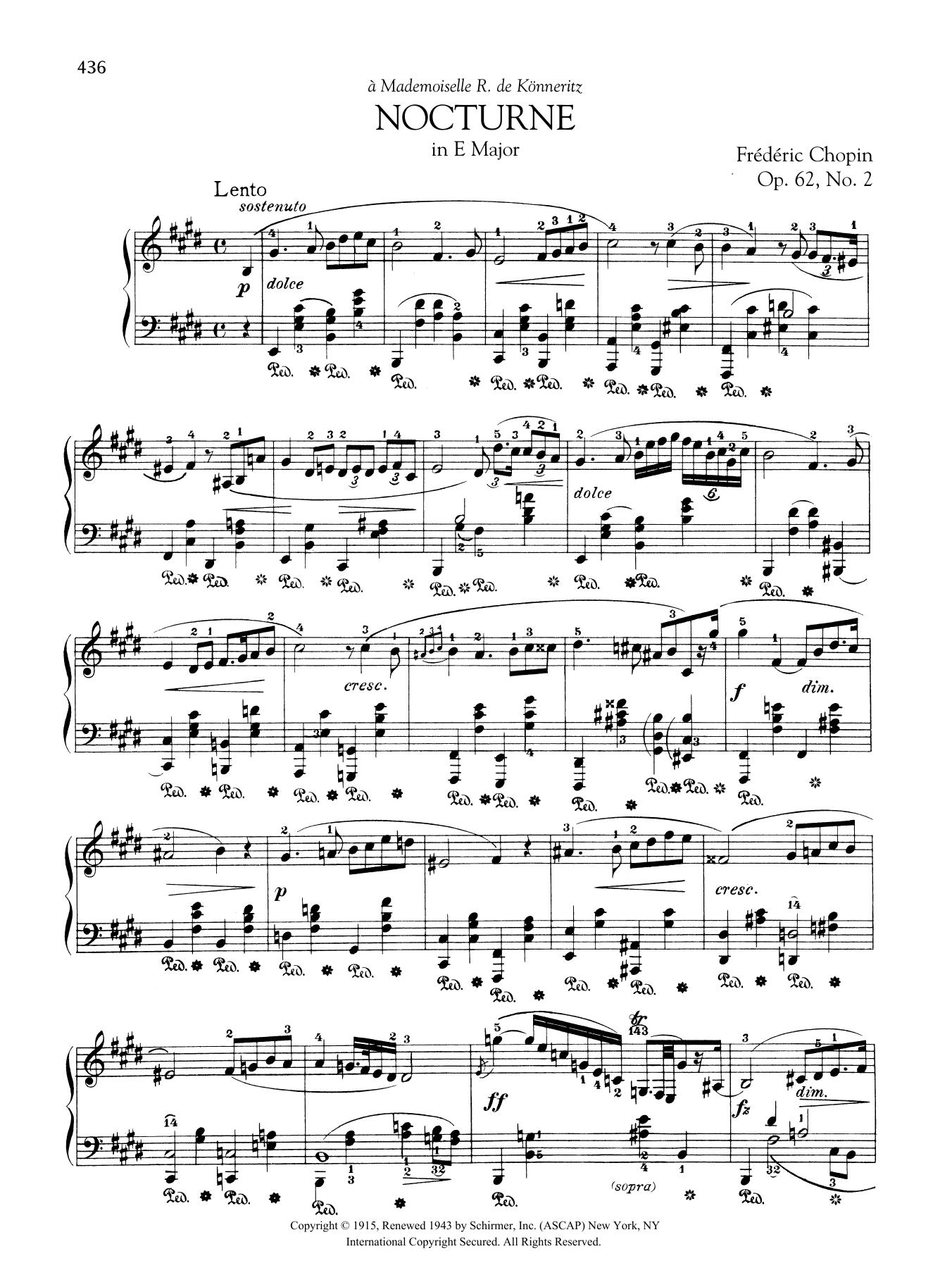 Nocturne in E Major, Op. 62, No. 2 Sheet Music