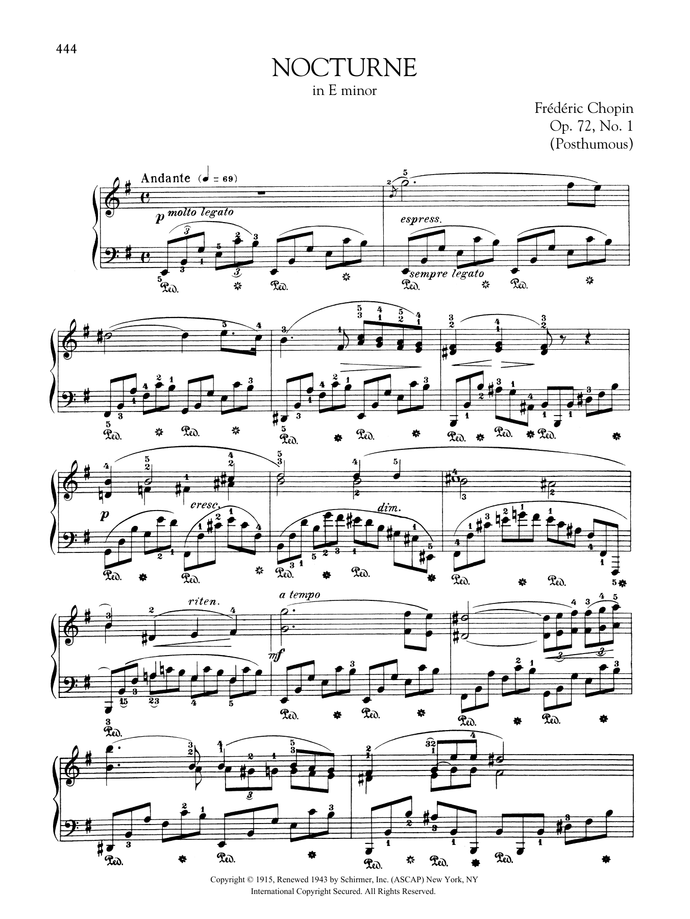Nocturne in E minor, Op. 72, No. 1 (Posthumous) Sheet Music