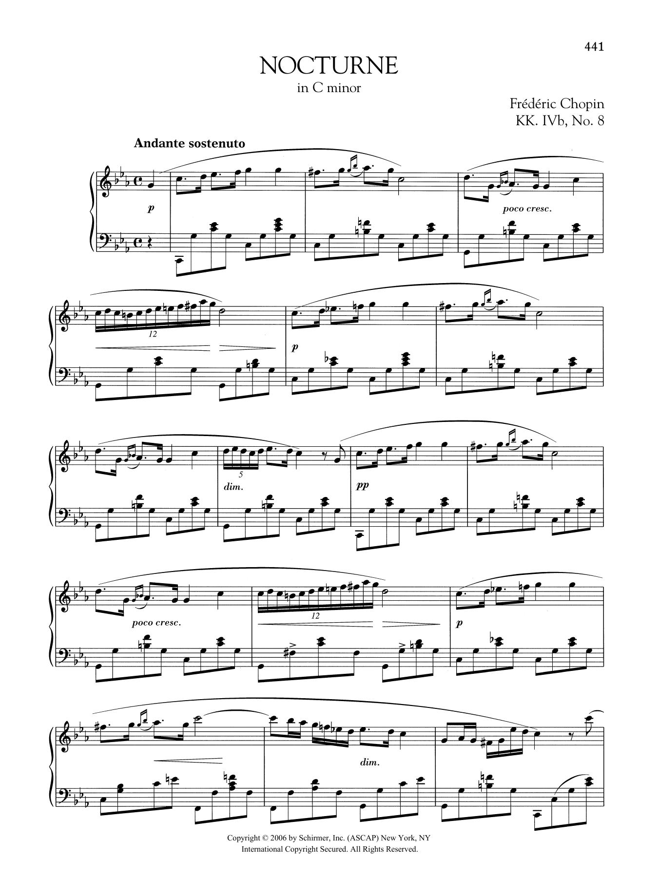 Nocturne in C minor, KK. IVb, No. 8 Sheet Music