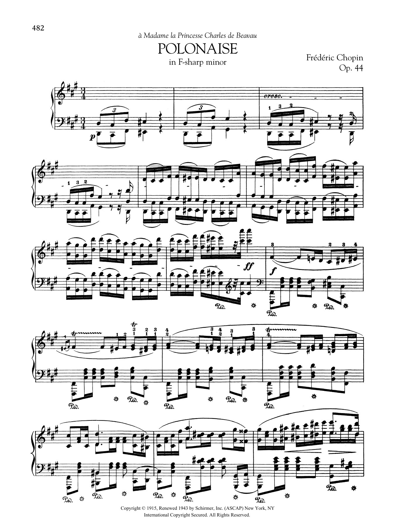 Polonaise in F-sharp minor, Op. 44 Sheet Music