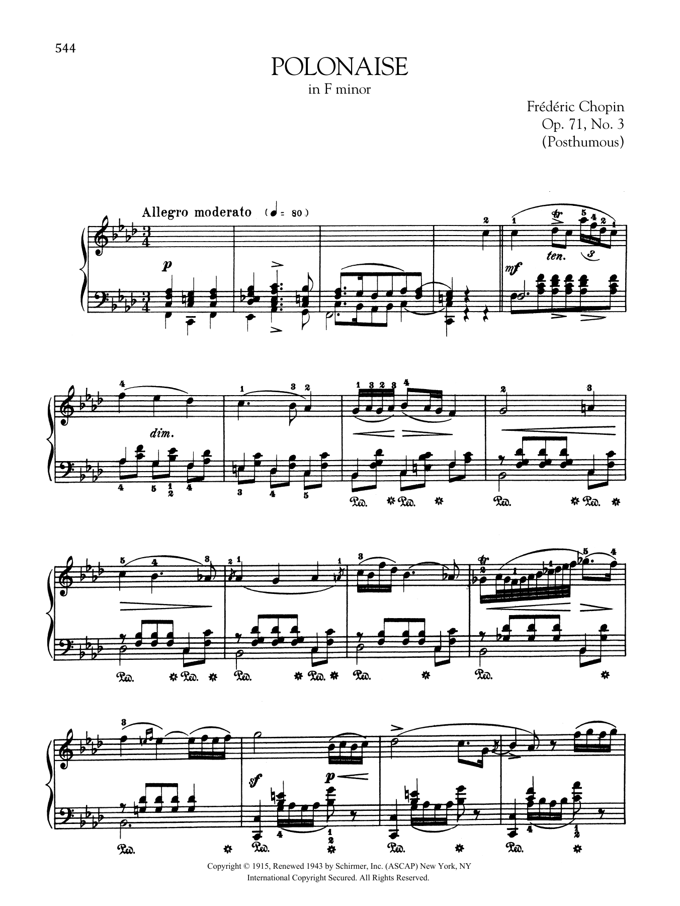 Polonaise in F minor, Op. 71, No. 3 (Posthumous) Sheet Music