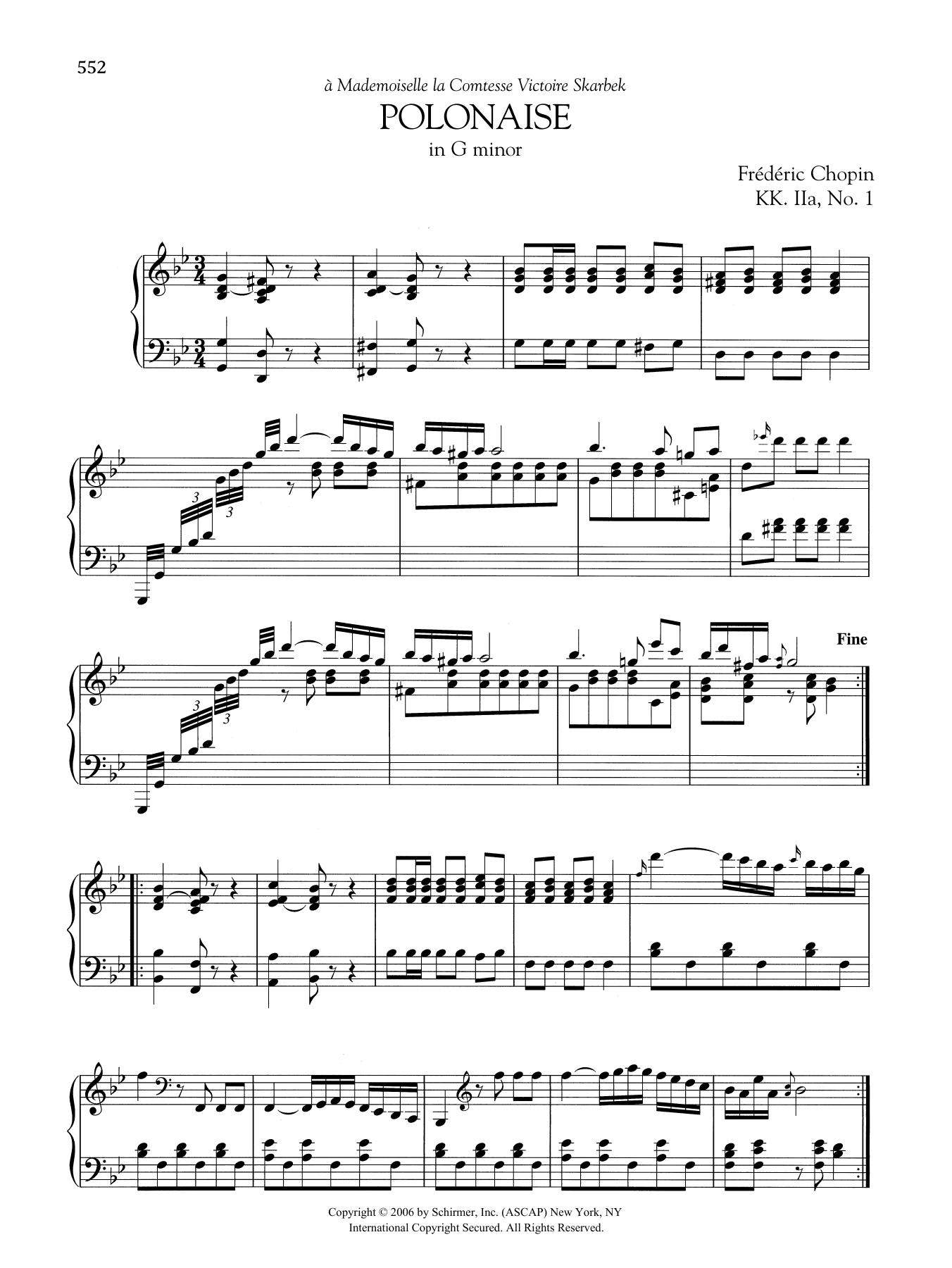 Polonaise in G minor, KK. IIa, No. 1 Sheet Music
