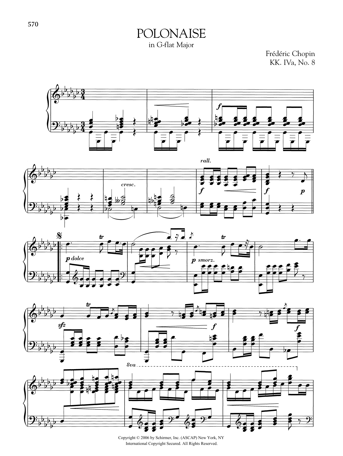 Polonaise in G-flat Major, KK. IVa, No. 8 Sheet Music