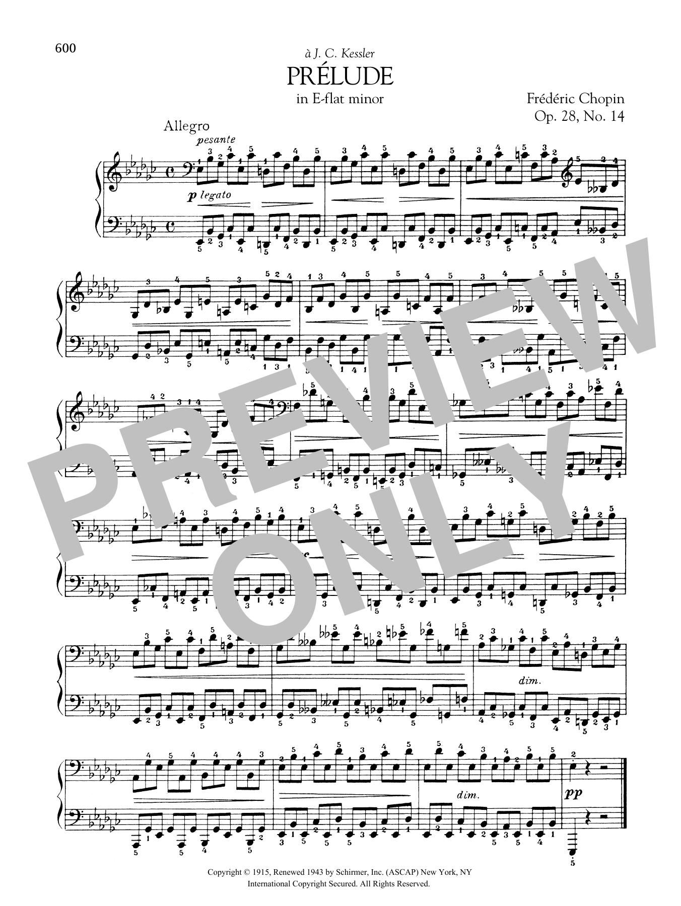 Prélude in E-flat minor, Op. 28, No. 14 Sheet Music