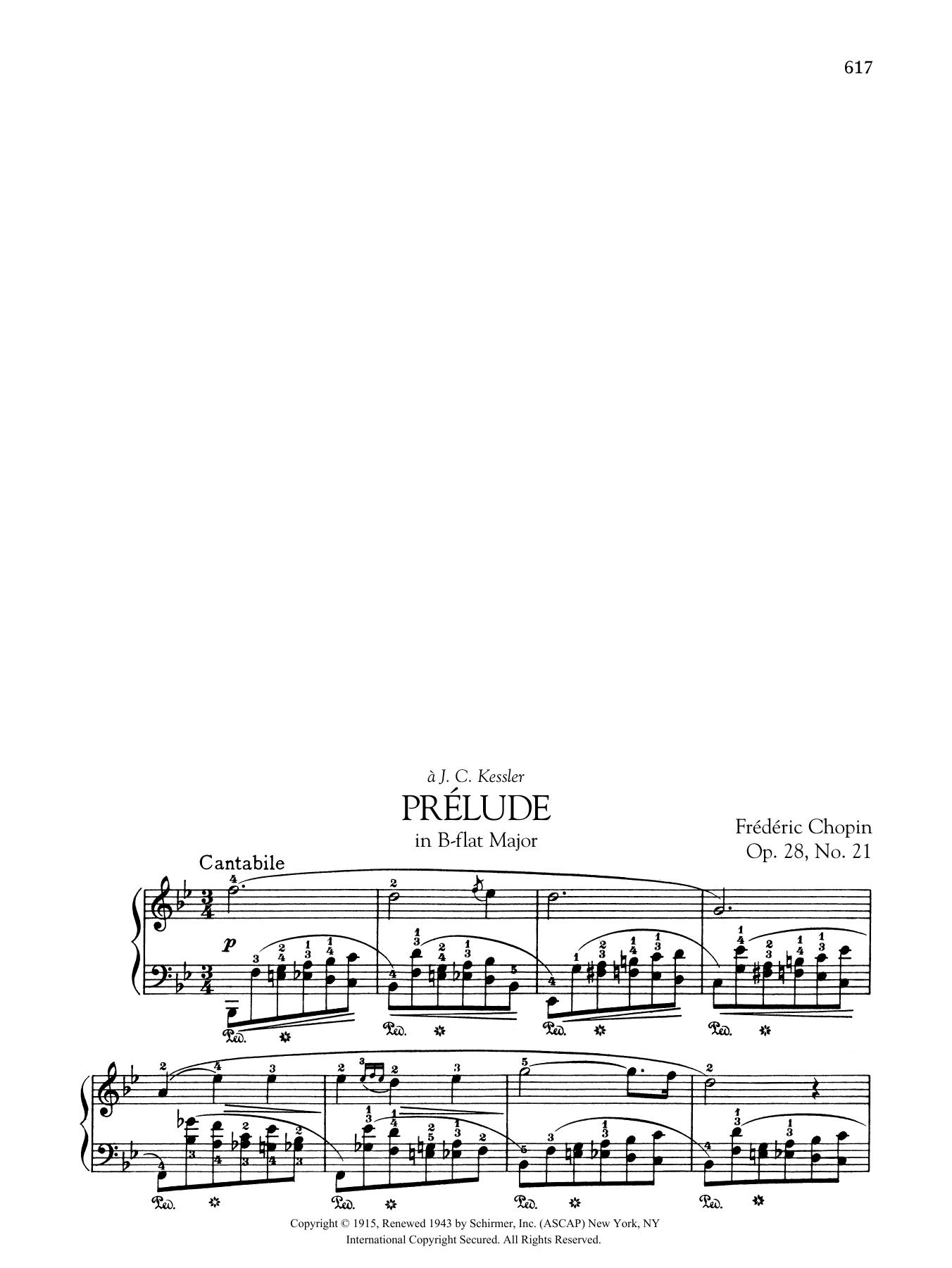 Prélude in B-flat Major, Op. 28, No. 21 Sheet Music