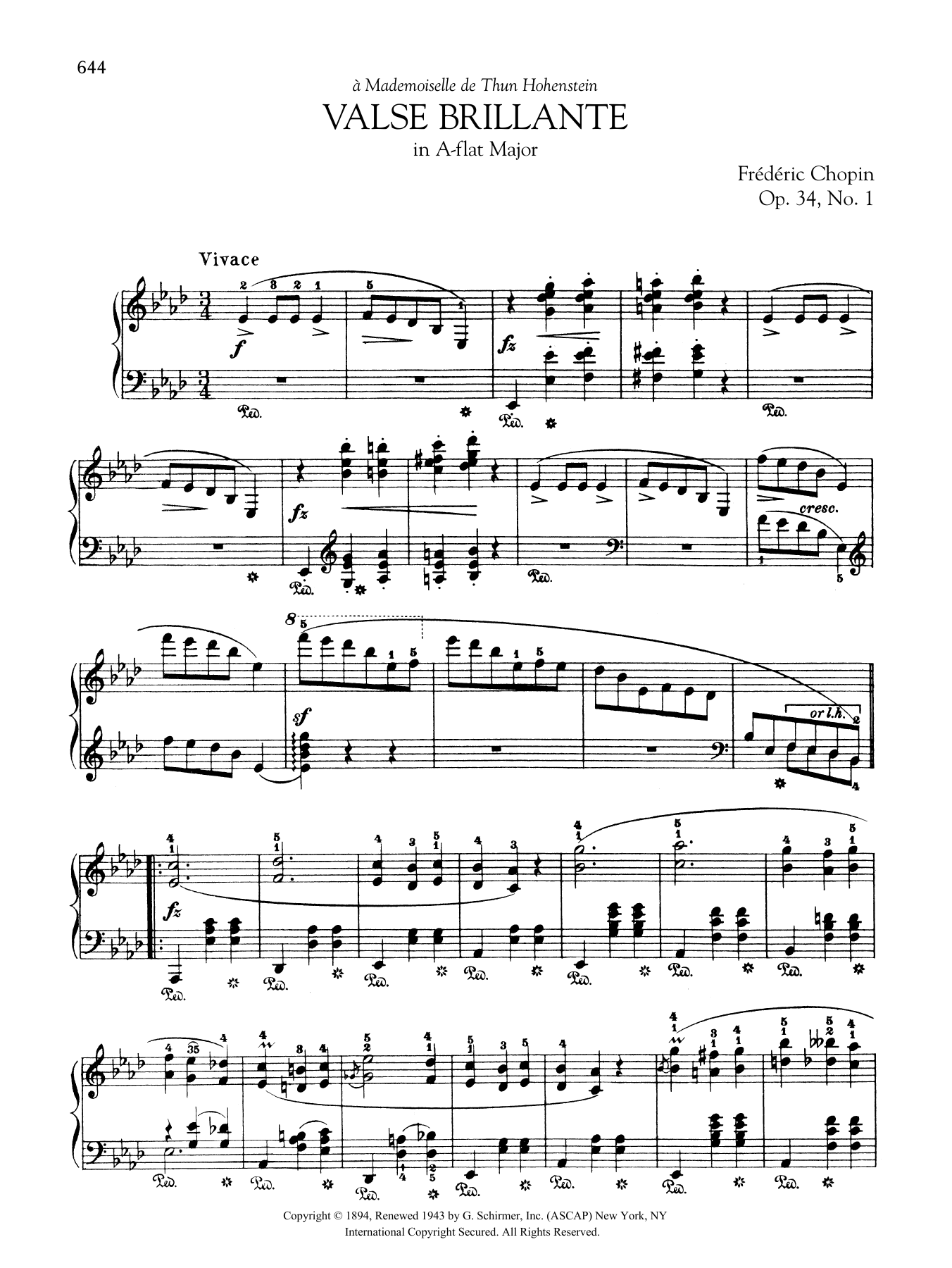 Valse Brillante In A Flat Major Op 34 No 1 Sheet Music Frédéric Chopin Piano Solo