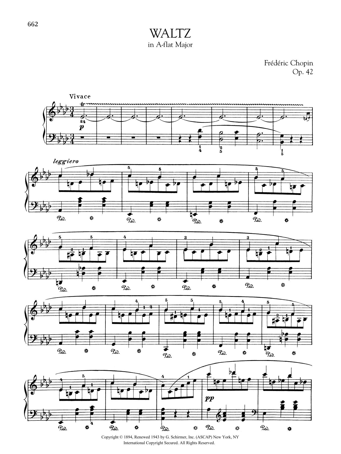 Waltz in A-flat Major, Op. 42 Sheet Music