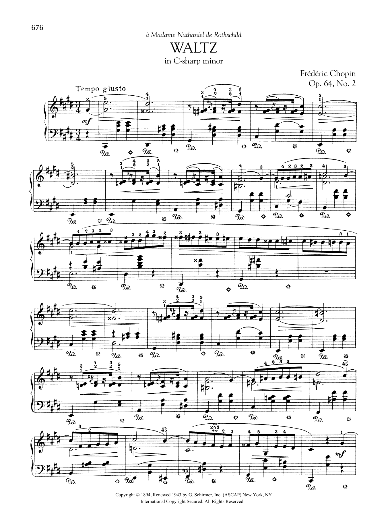 Waltz In C Sharp Minor Op 64 No 2 Sheet Music Frédéric Chopin Piano Solo