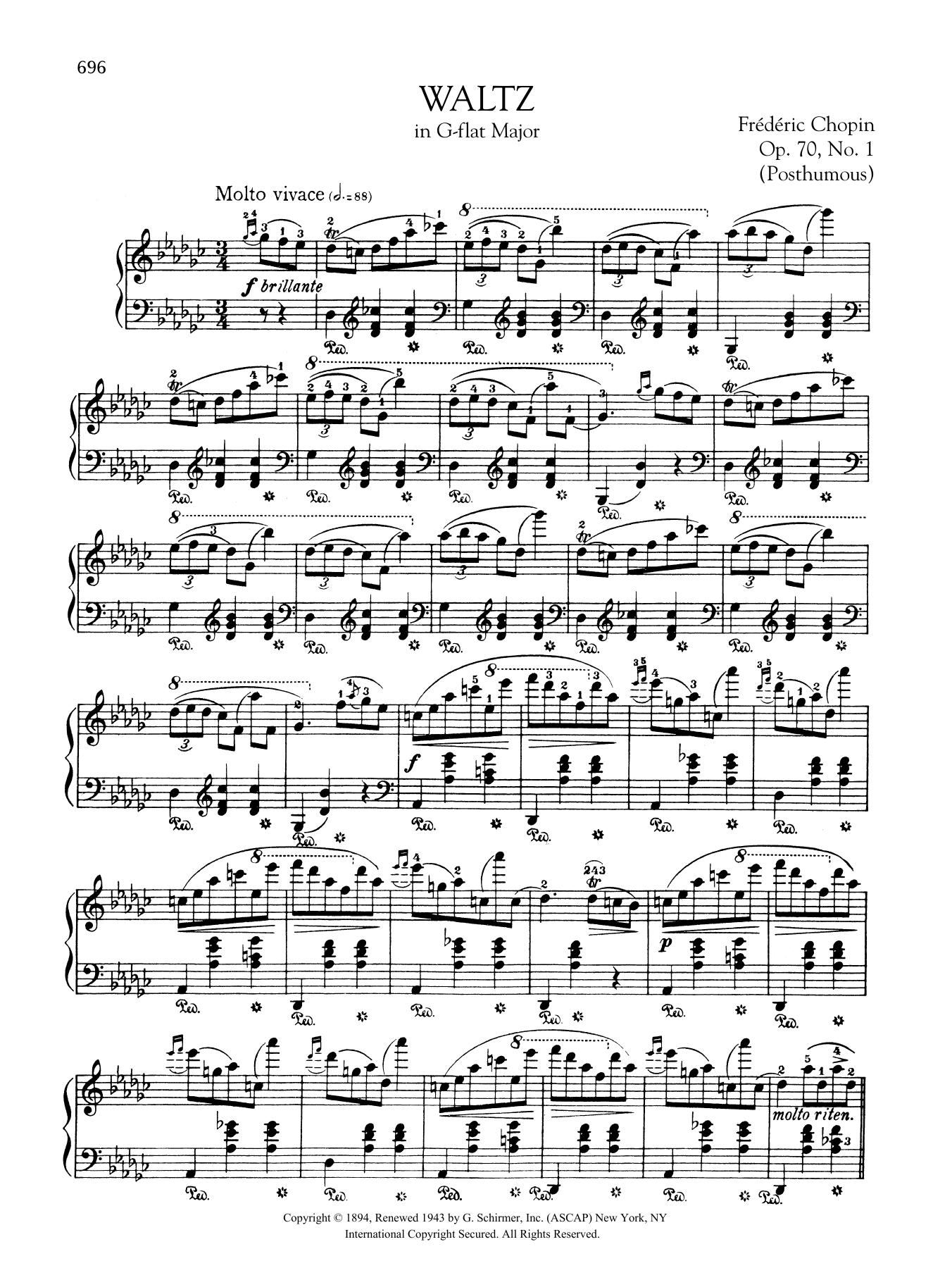 Waltz in G-flat Major, Op. 70, No. 1 (Posthumous) Sheet Music