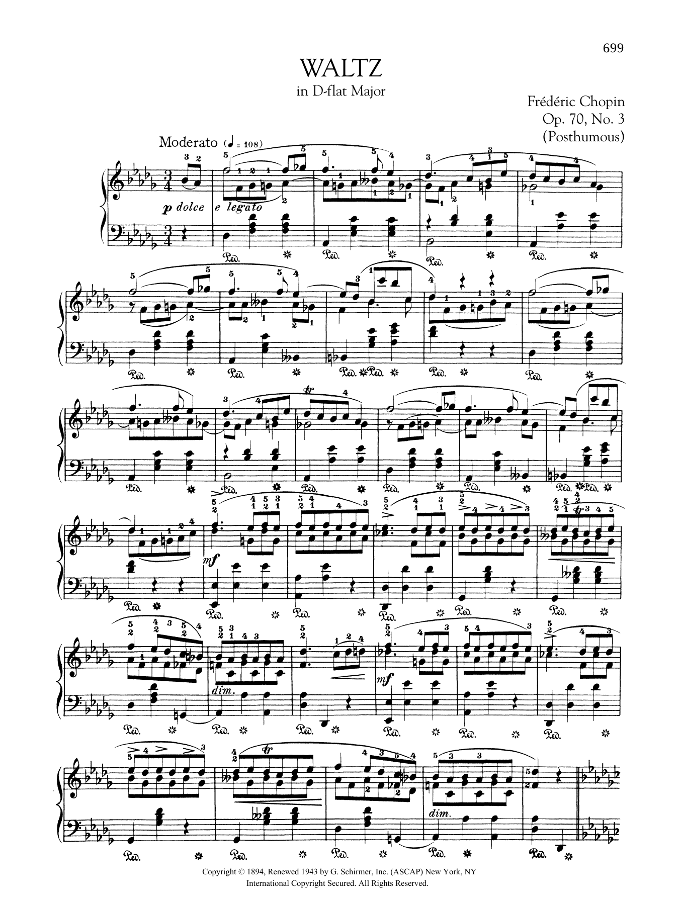 Waltz in D-flat Major, Op. 70, No. 3 (Posthumous) Sheet Music