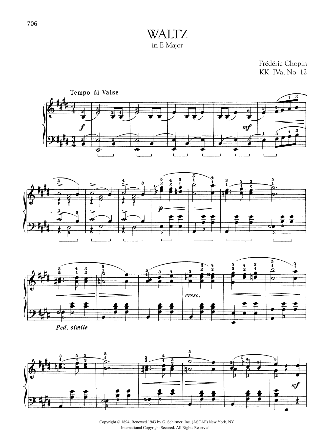 Waltz in E Major, KK. IVa, No. 12 Sheet Music
