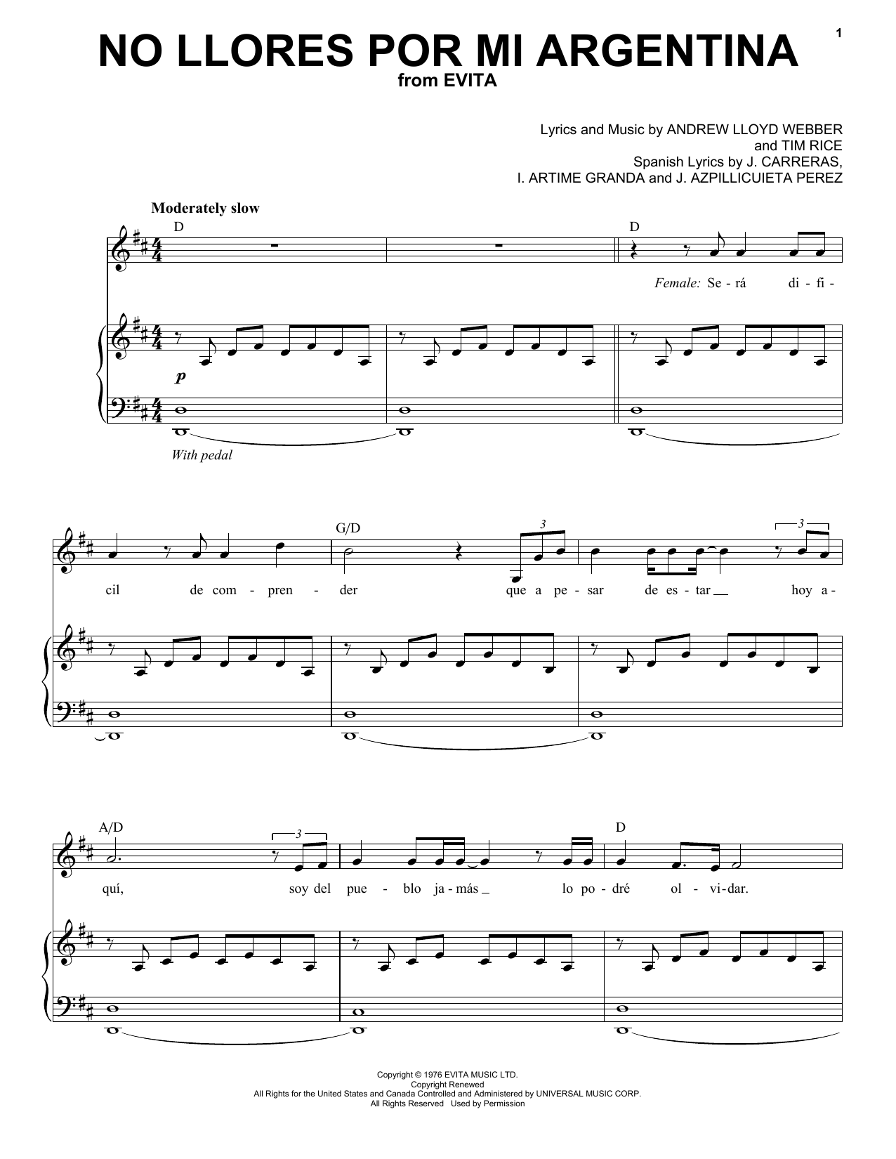 No Llores Por Mi Argentia Sheet Music