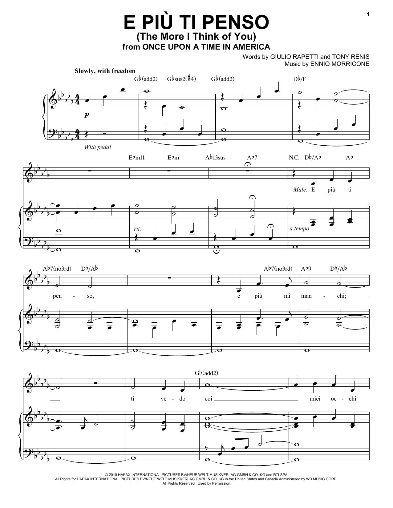 E Piu'ti Penso (The More I Think Of You) Sheet Music