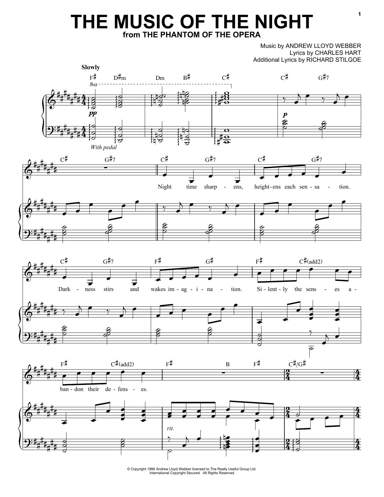 music of the night piano sheet music pdf