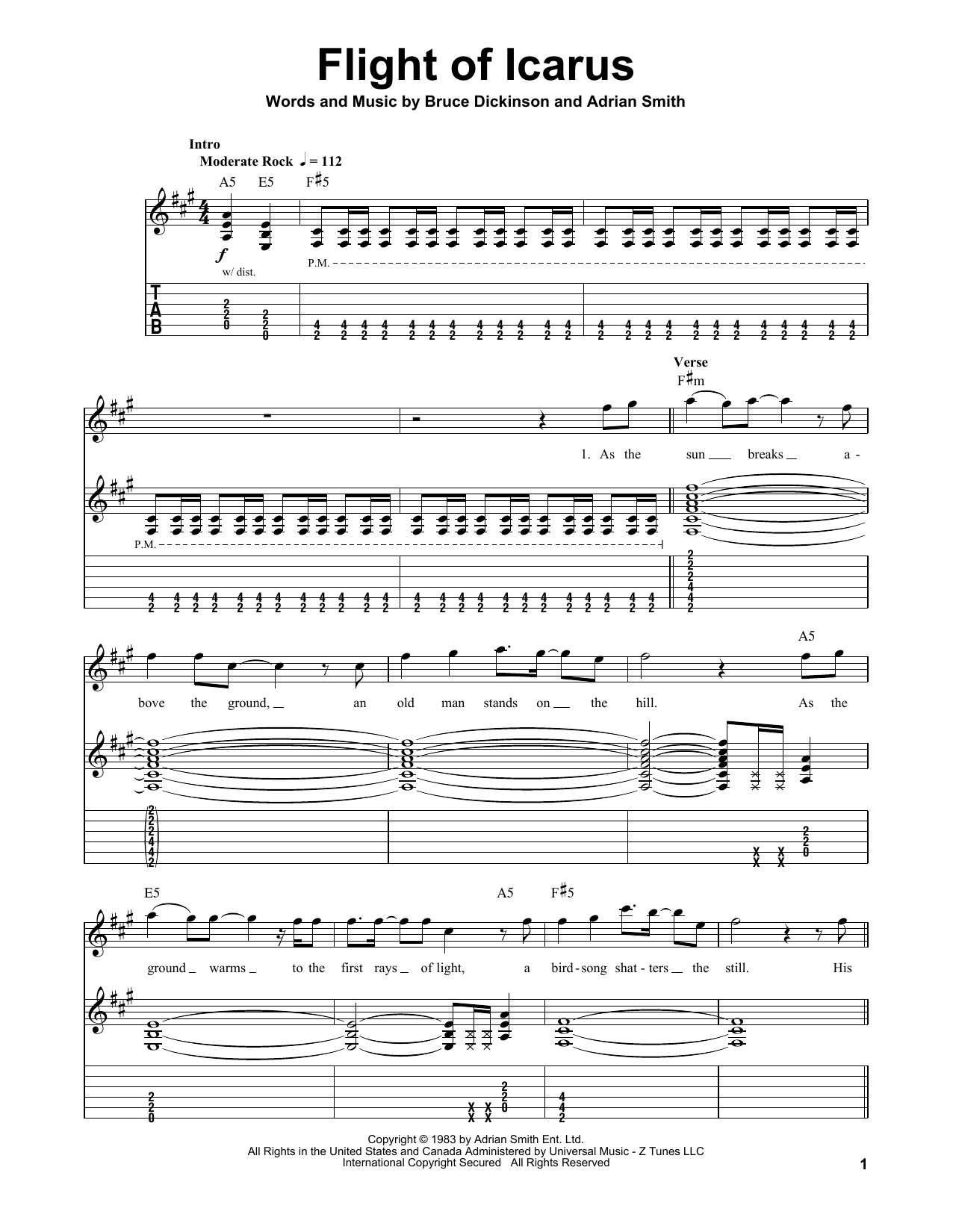 Flight Of Icarus Sheet Music