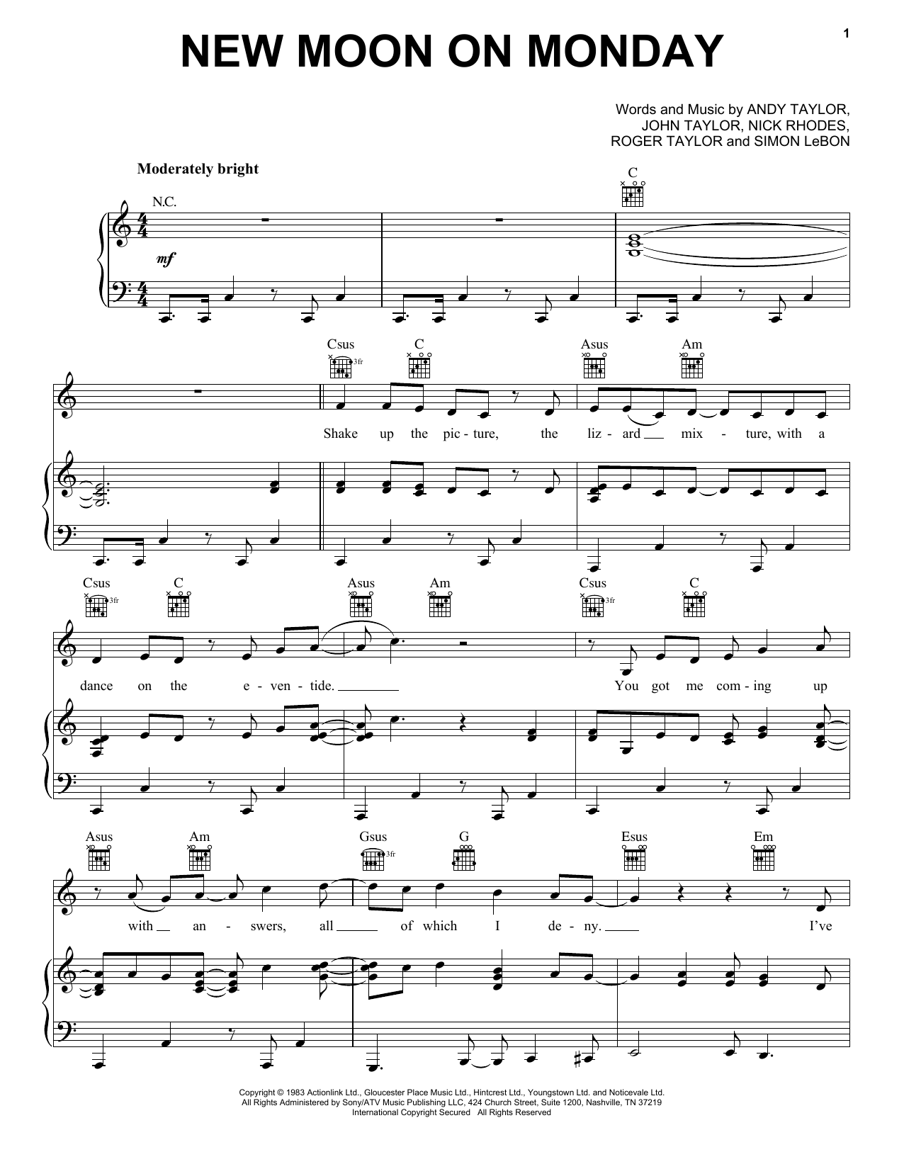 New Moon On Monday Sheet Music