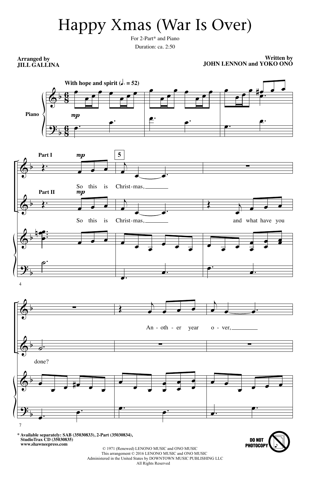 Happy xmas war is over 2 part choir sheet music by by jill happy xmas war is over sheet music hexwebz Images