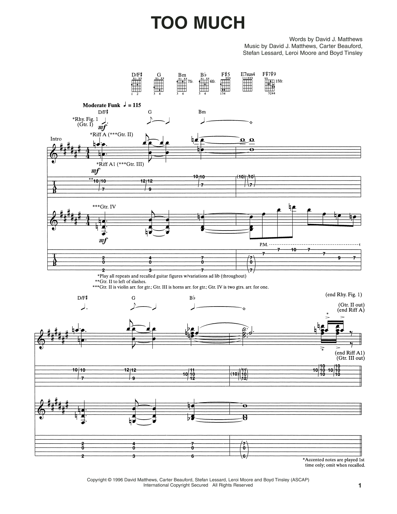 Too Much (Guitar Tab)