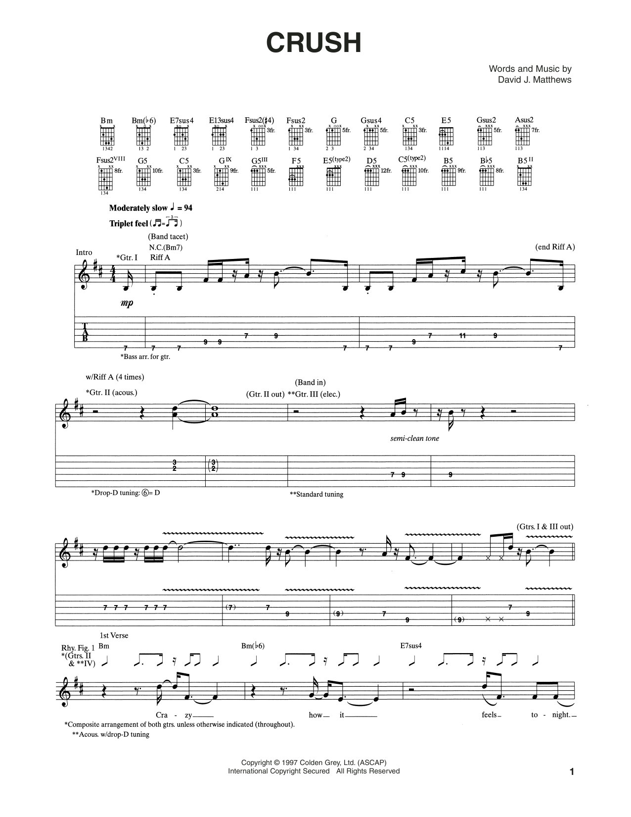 Tablature guitare Crush de Dave Matthews Band - Tablature Guitare