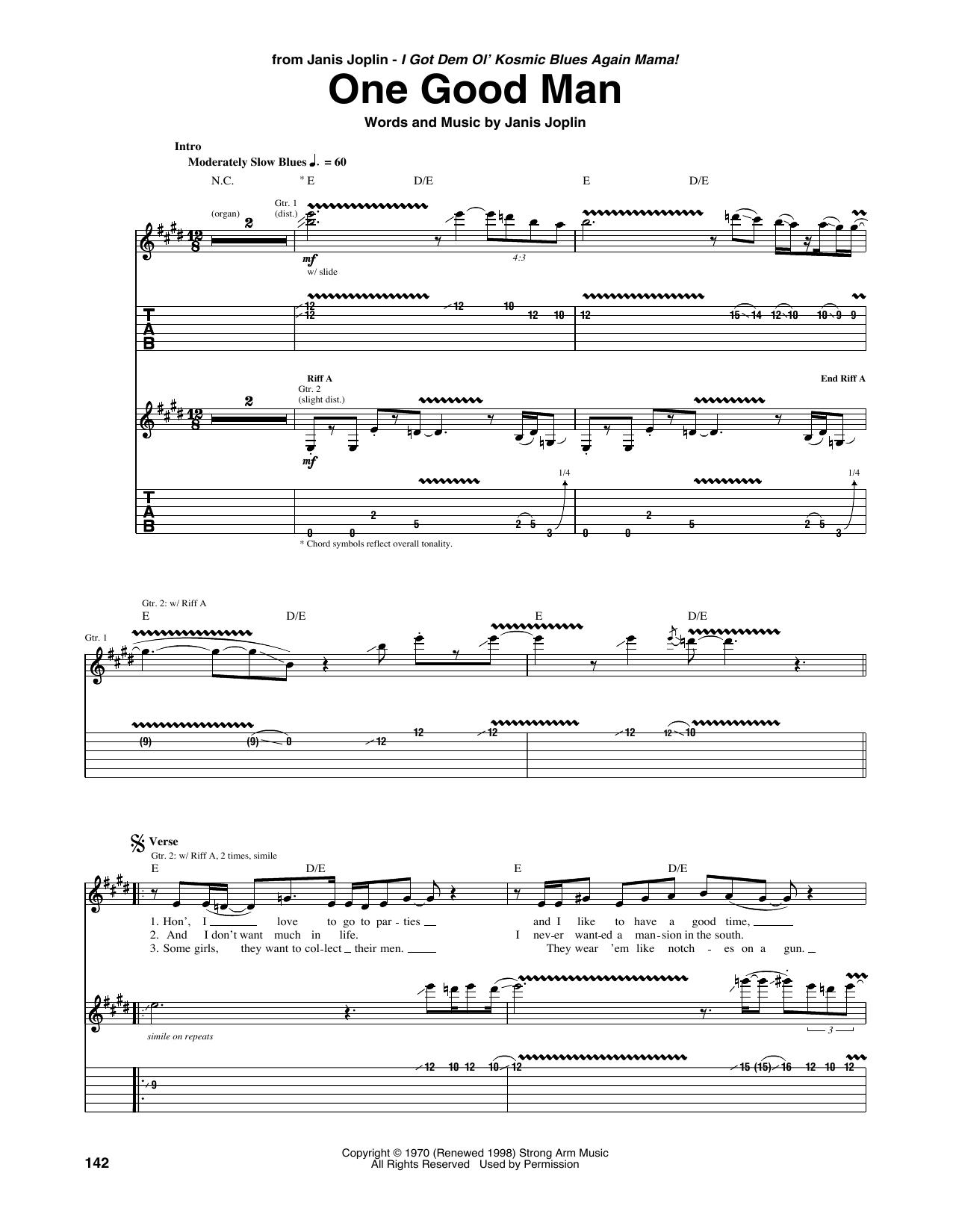 One Good Man Sheet Music