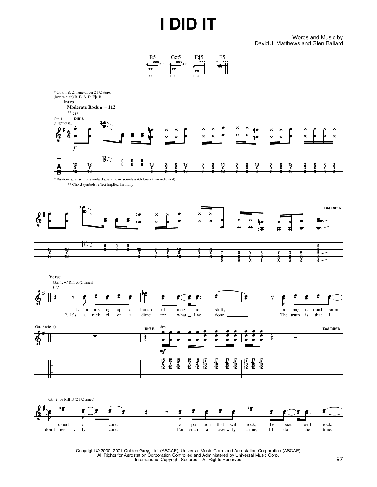 Tablature guitare I Did It de Dave Matthews Band - Tablature Guitare