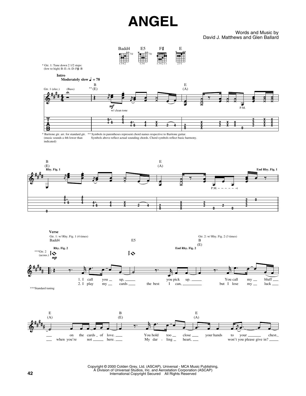 Tablature guitare Angel de Dave Matthews Band - Tablature Guitare