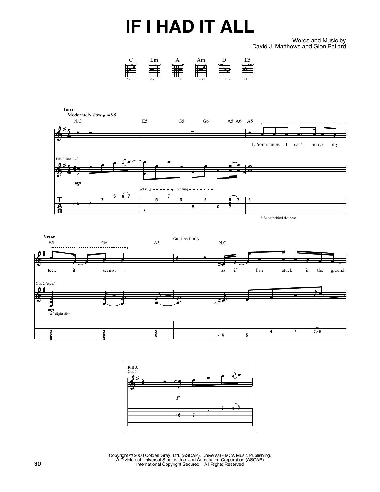 Tablature guitare If I Had It All de Dave Matthews Band - Tablature Guitare