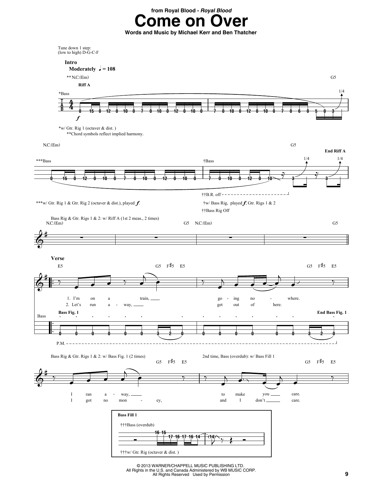 Come On Over (Bass Guitar Tab)