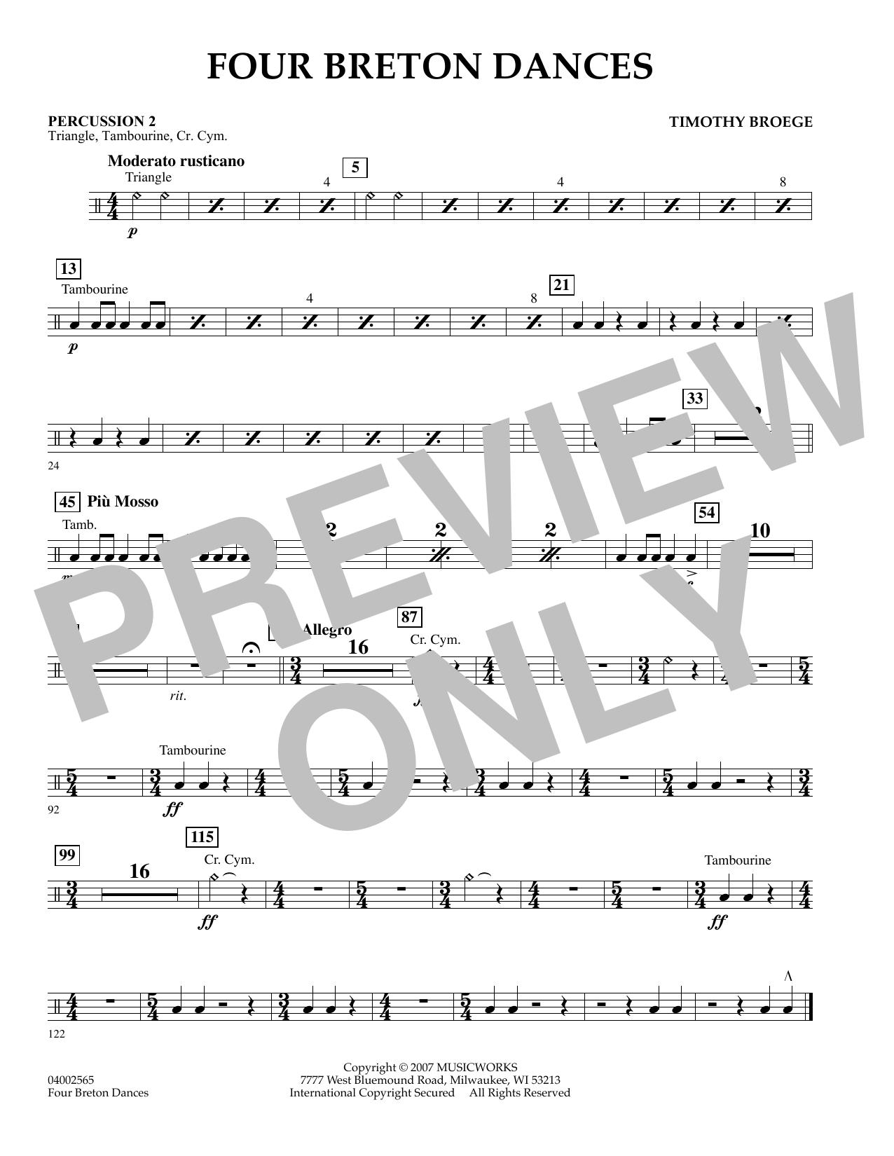 Four Breton Dances - Percussion 2 (Concert Band)