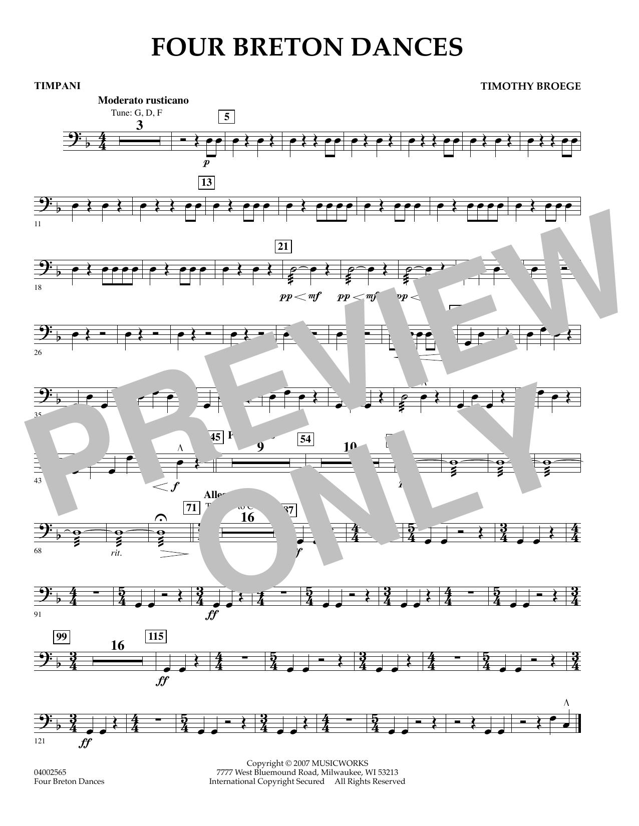 Four Breton Dances - Timpani (Concert Band)