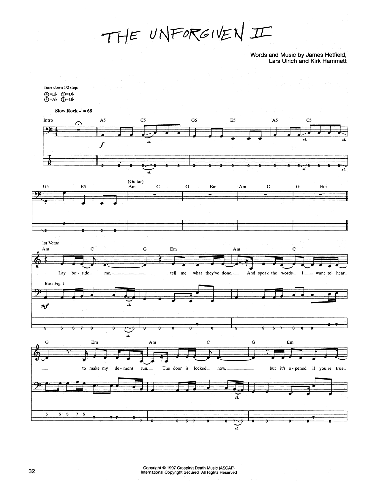 Tablature guitare The Unforgiven II de Metallica - Tablature Basse