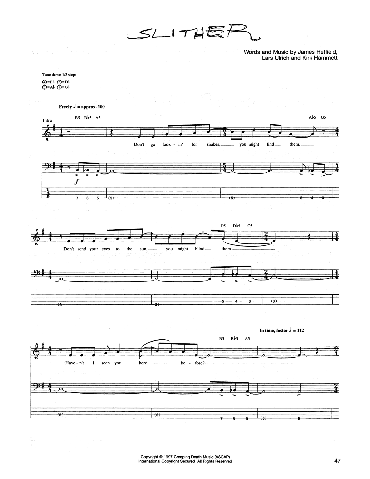Slither Sheet Music