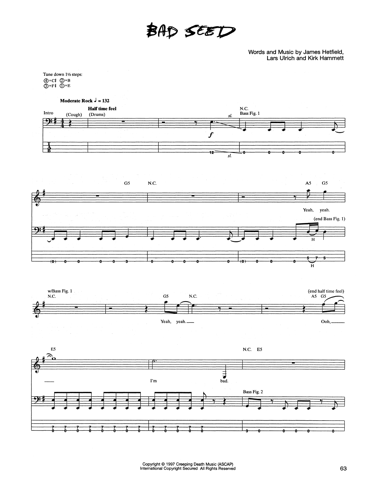 Tablature guitare Bad Seed de Metallica - Tablature Basse
