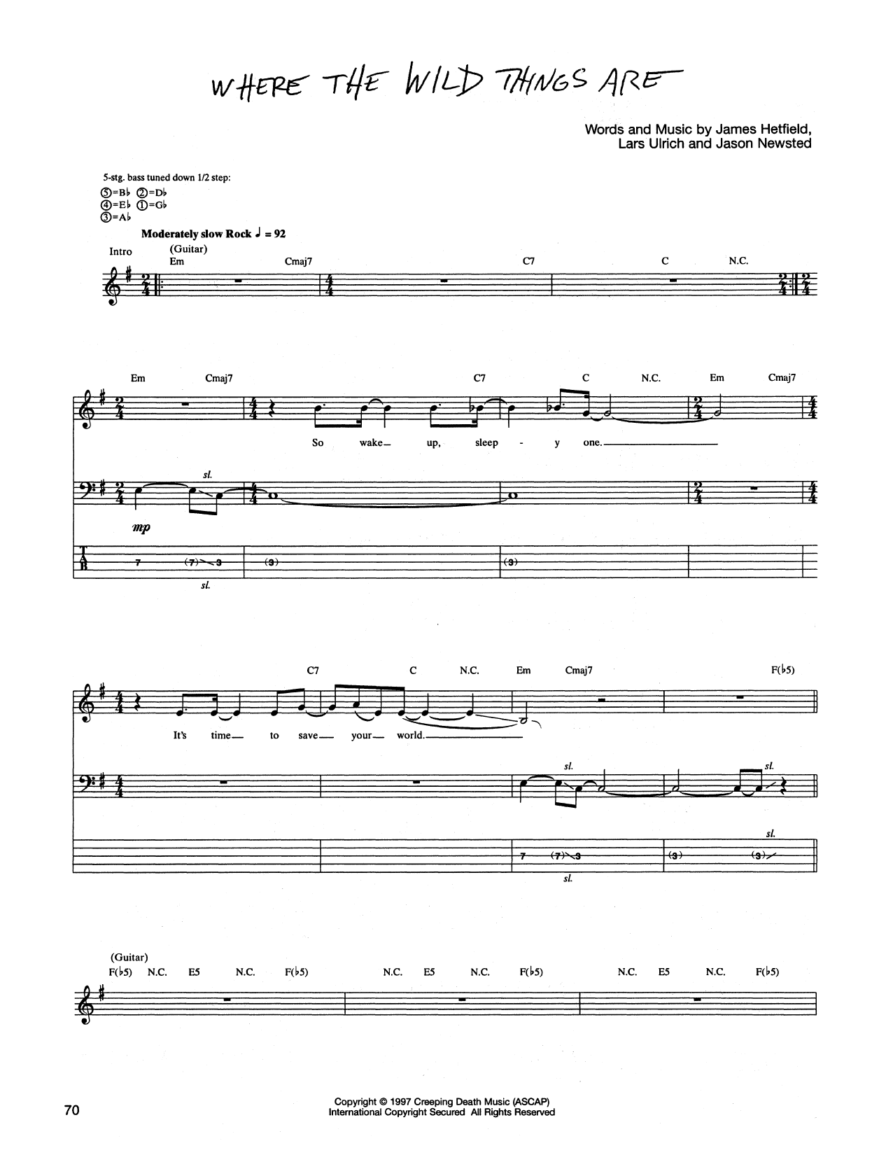 Tablature guitare Where The Wild Things Are de Metallica - Tablature Basse