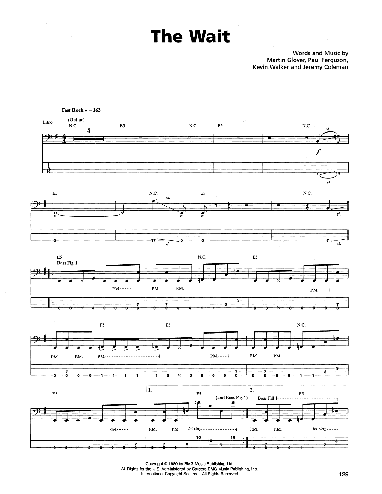 Tablature guitare The Wait de Metallica - Tablature Basse