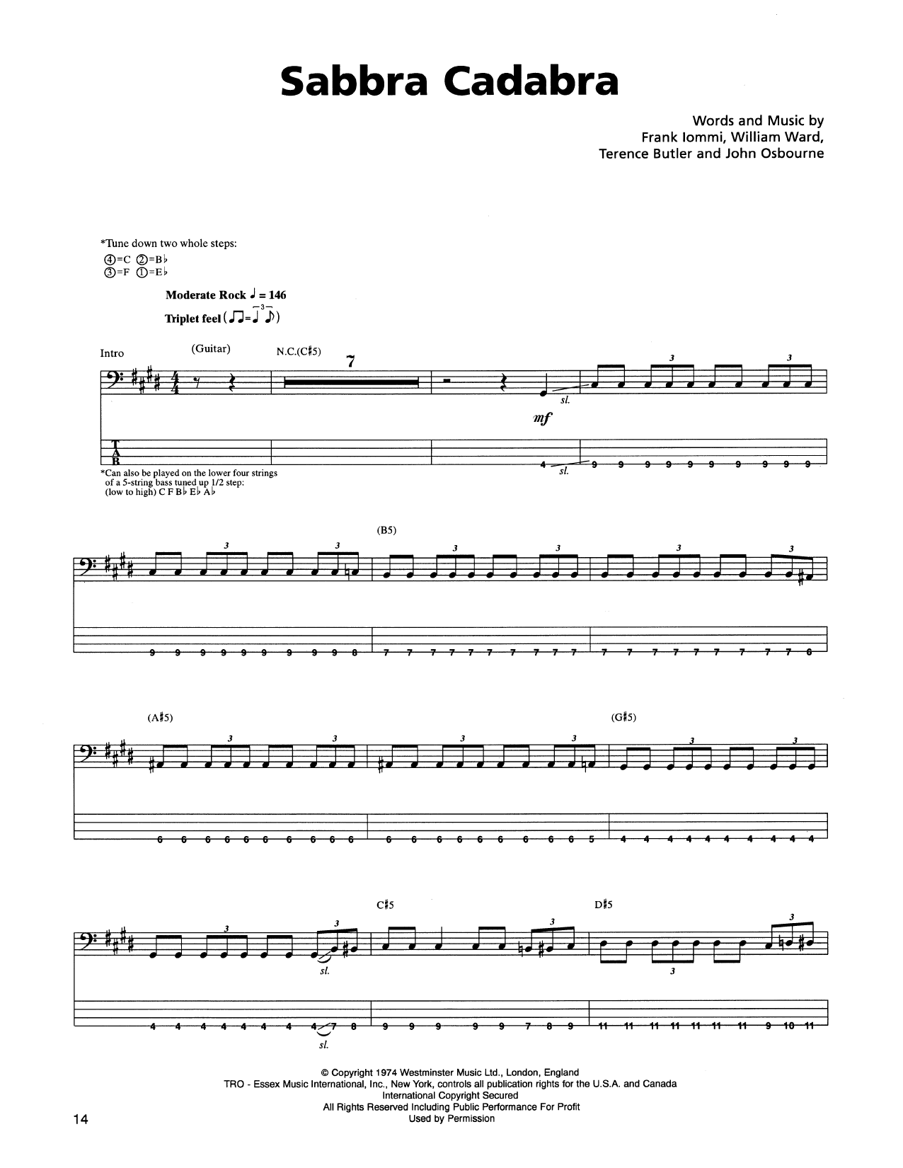 Tablature guitare Sabbra Cadabra de Metallica - Tablature Basse