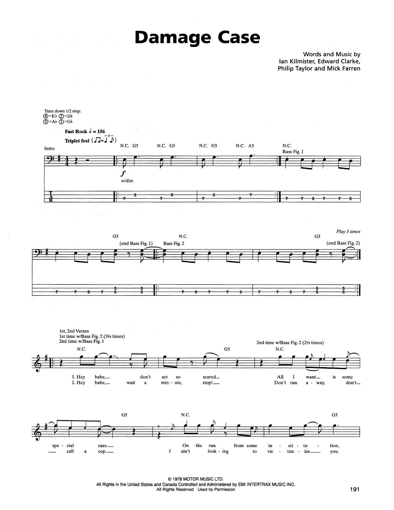 Damage Case Sheet Music