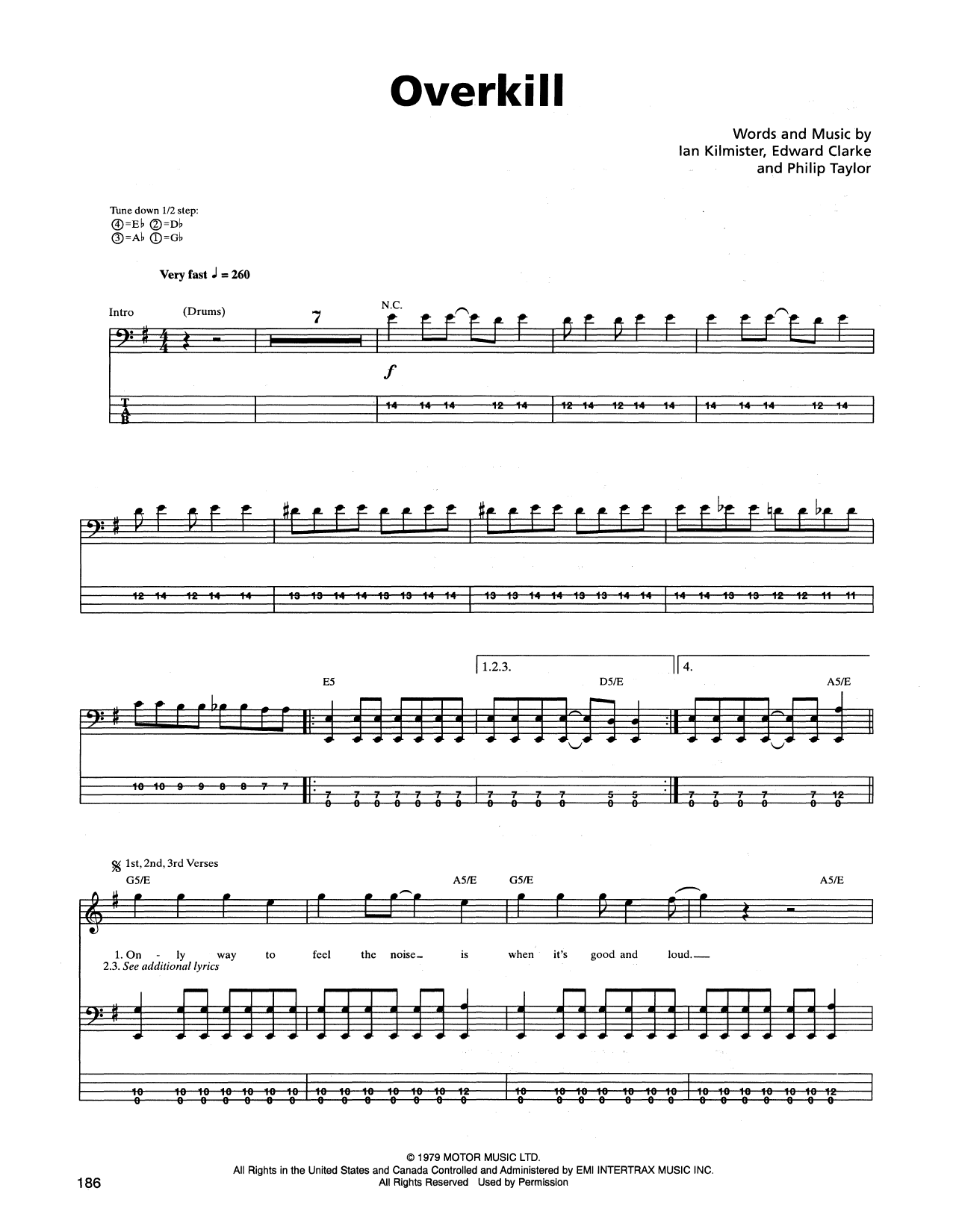 Overkill Sheet Music