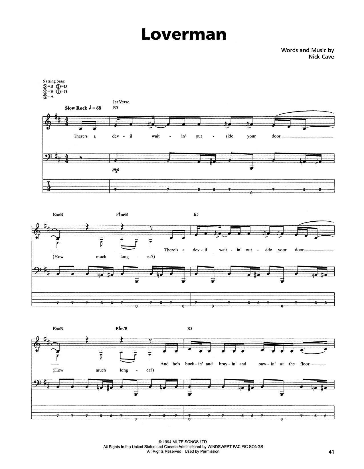 Tablature guitare Loverman de Metallica - Tablature Basse