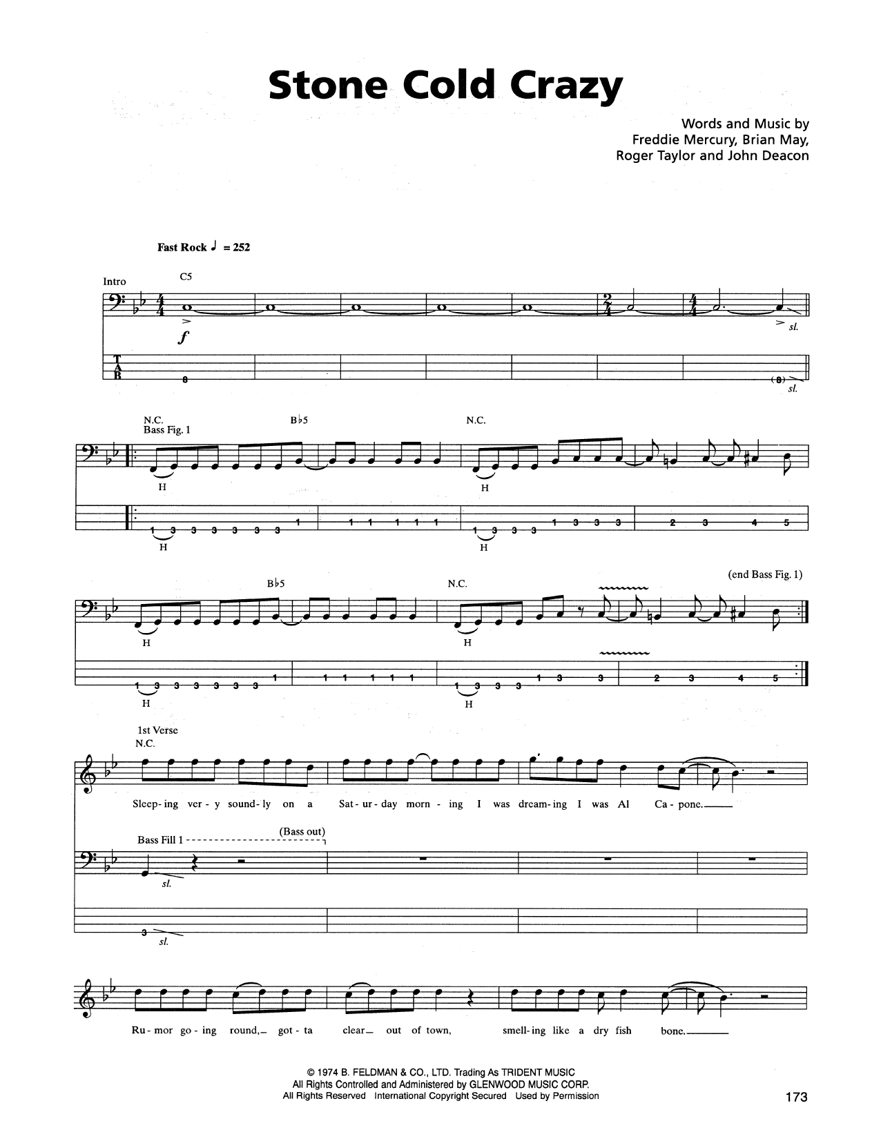 Tablature guitare Stone Cold Crazy de Metallica - Tablature Basse