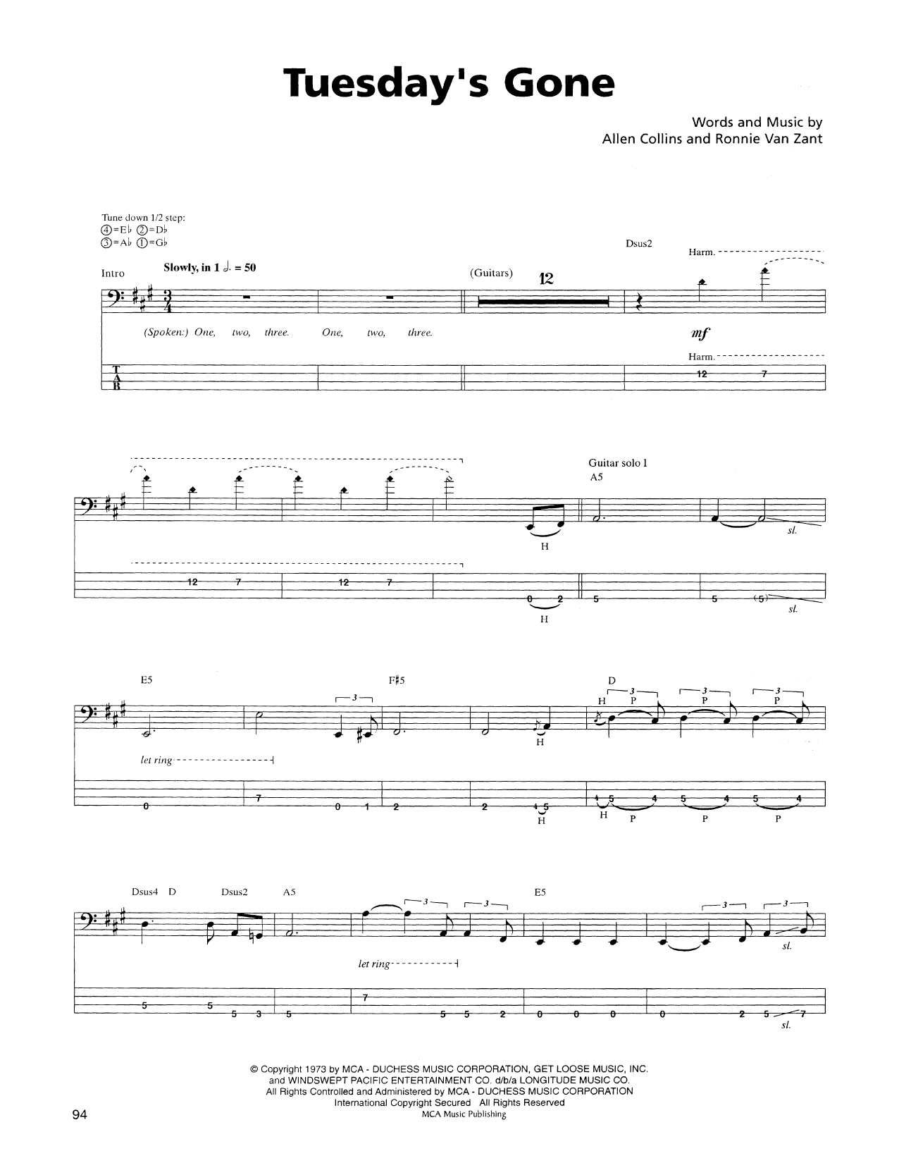 Tablature guitare Tuesday's Gone de Lynyrd Skynyrd - Tablature Basse