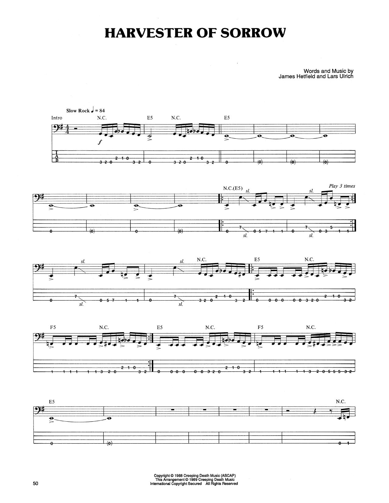 Harvester Of Sorrow Sheet Music