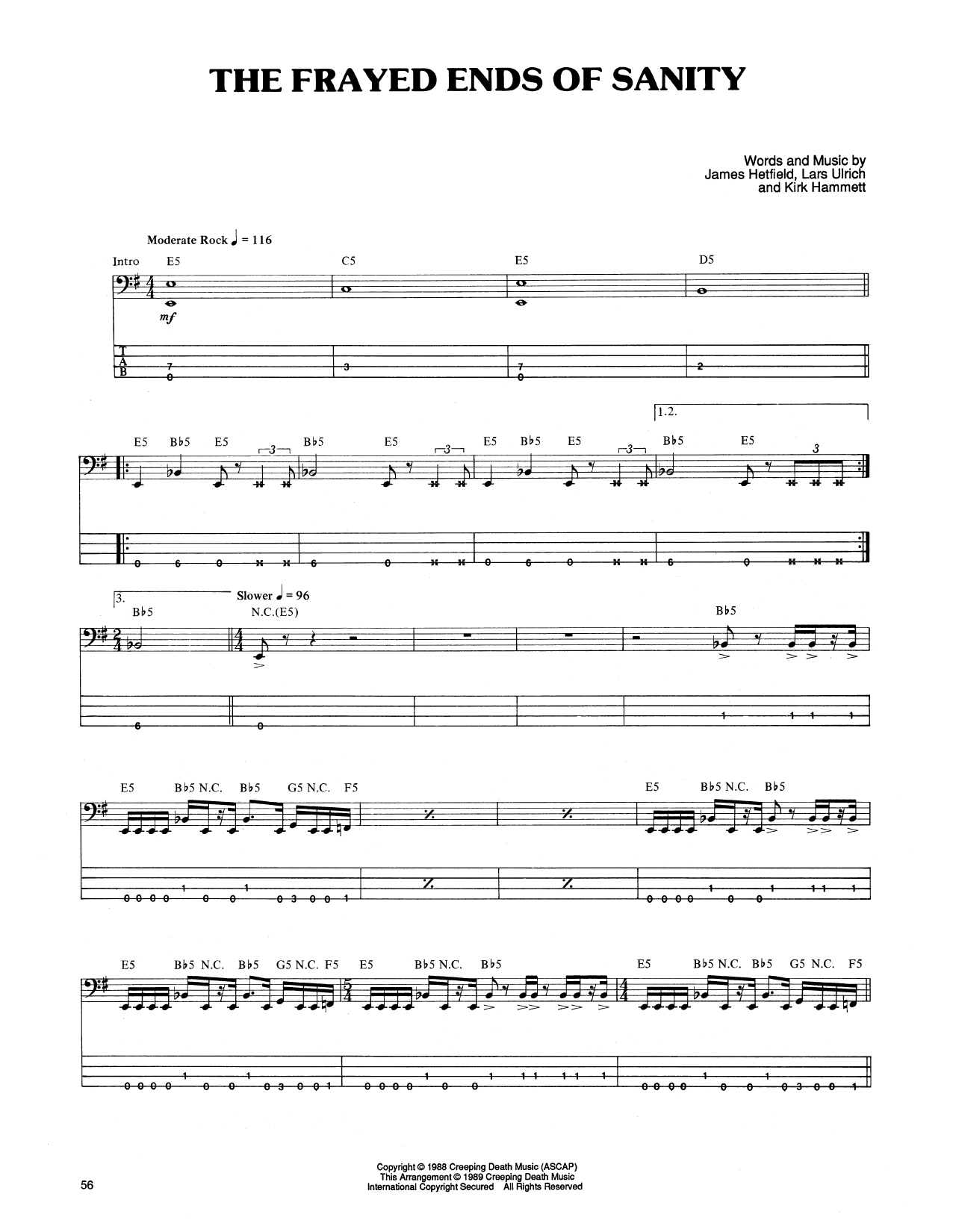 Tablature guitare The Frayed Ends Of Sanity de Metallica - Tablature Basse