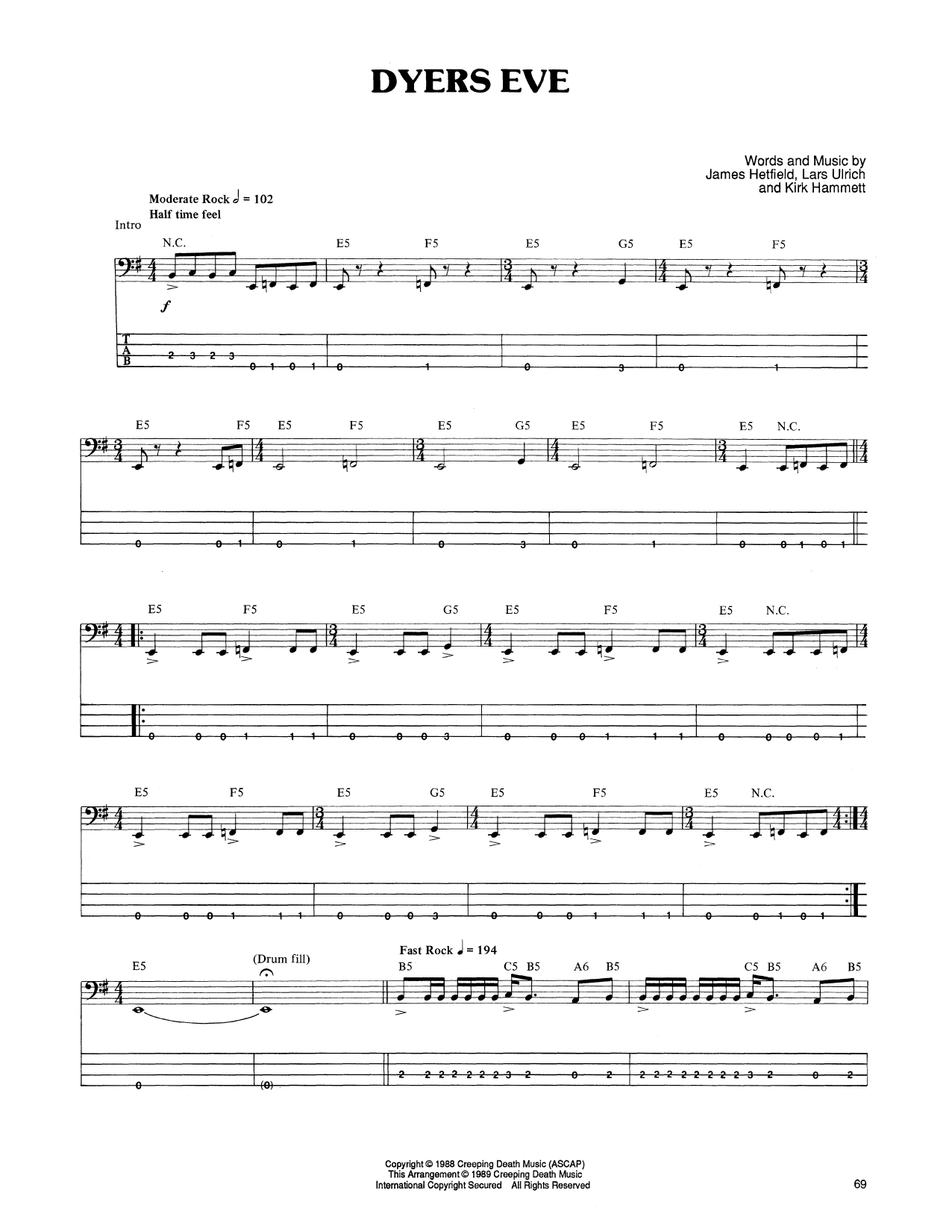 Dyers Eve Sheet Music