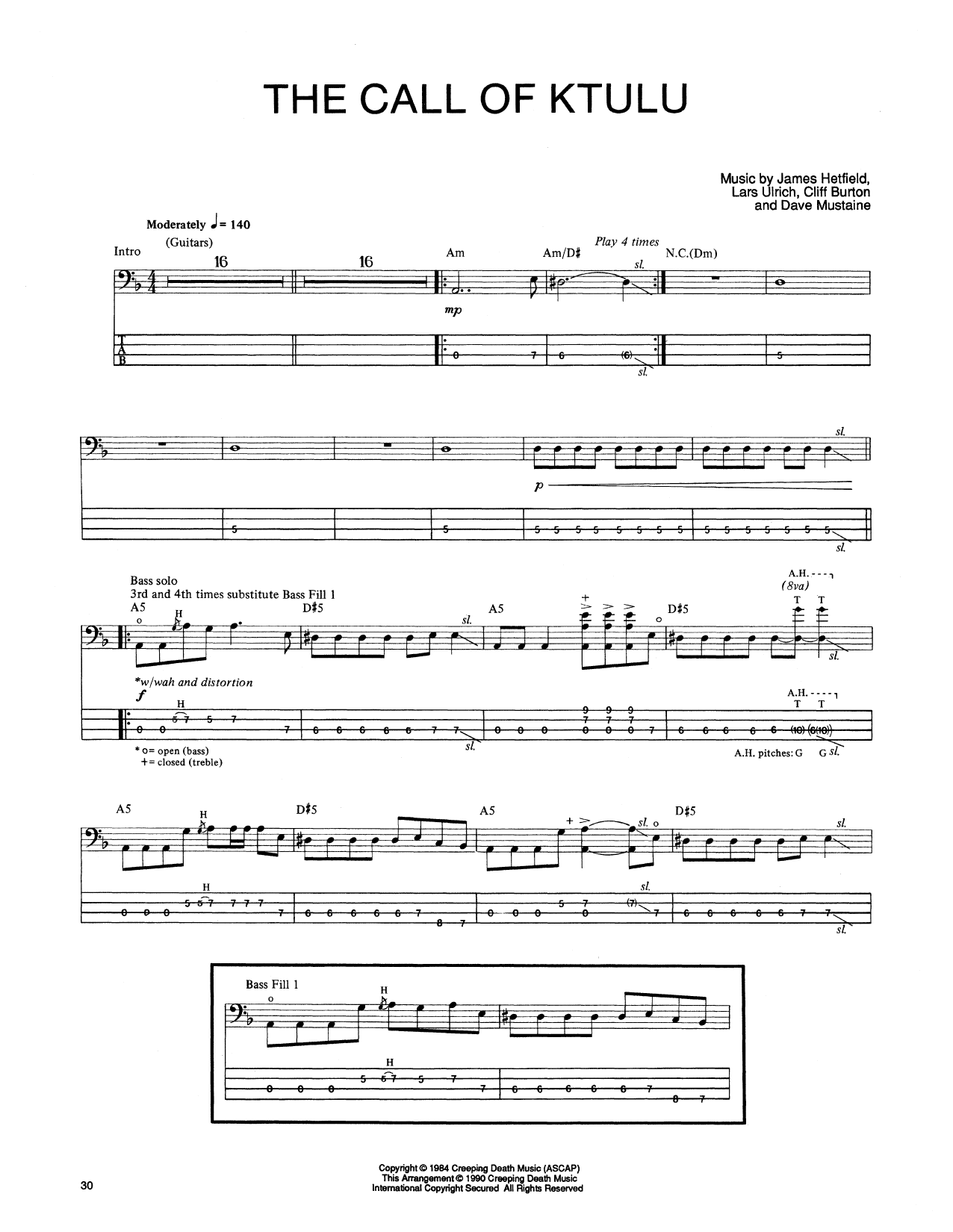 Tablature guitare The Call Of Ktulu de Metallica - Tablature Basse