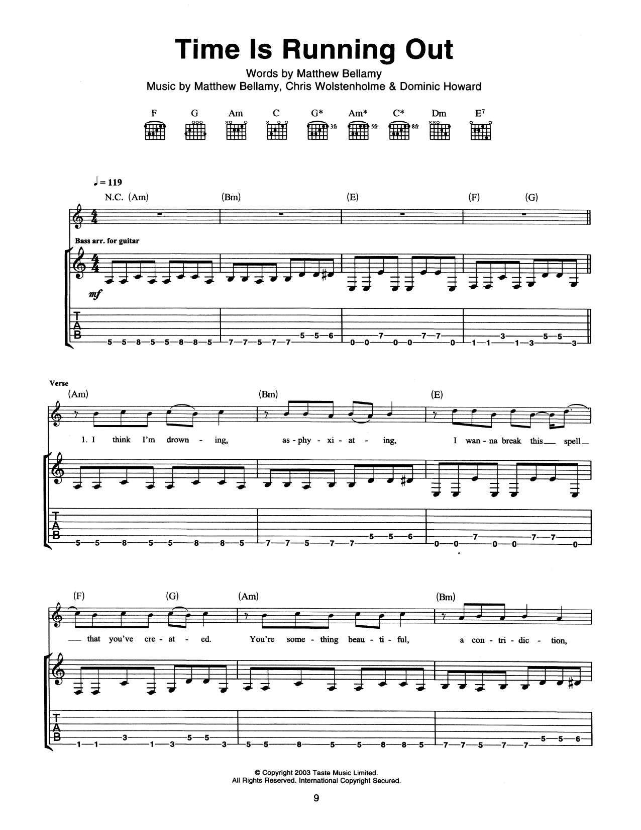 Time Is Running Out Sheet Music