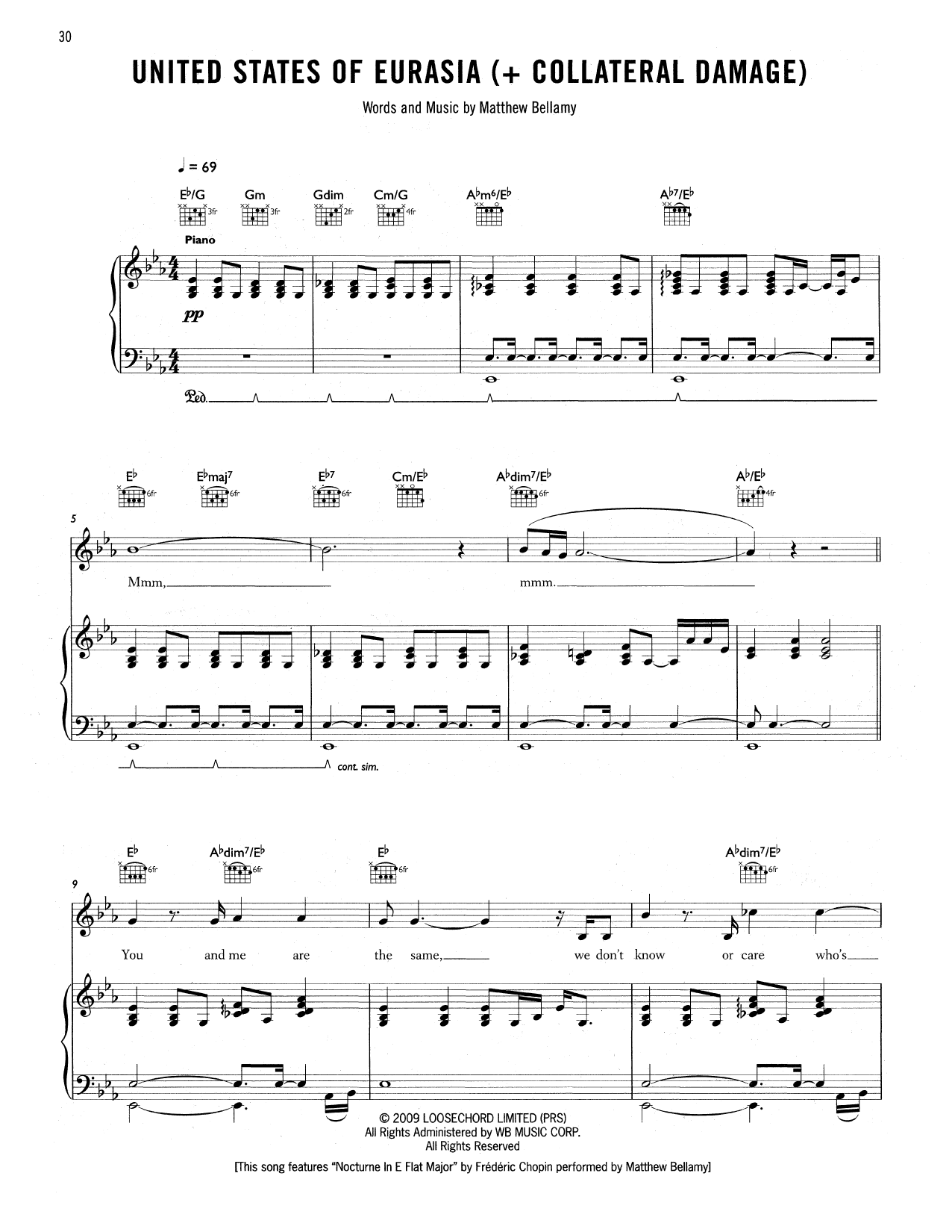 Tablature guitare United States Of Eurasia (+ Collateral Damage) de Muse - Tablature Guitare