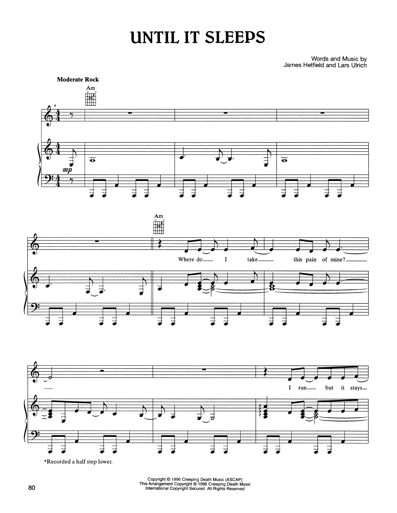 Until It Sleeps Sheet Music