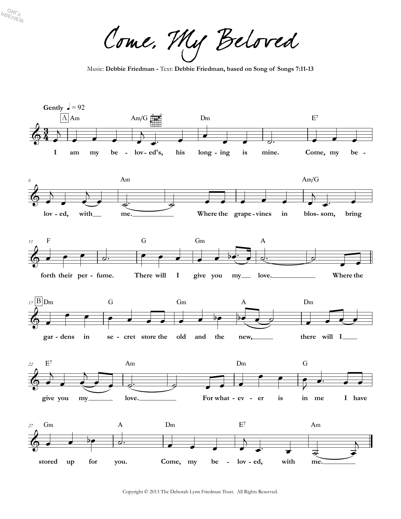 Come, My Beloved Sheet Music